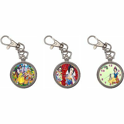 Snow White Silver Key Ring Chain Pocket Watch