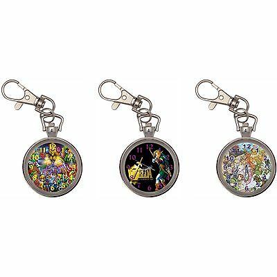 Zelda Silver Key Ring Chain Pocket Watch