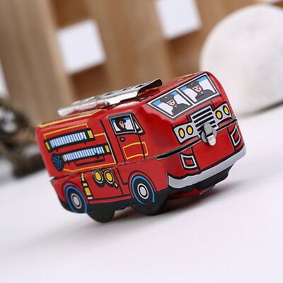 Retro Classic Firefighter Fire Engine Truck Clockwork Wind Up Tin Toys BE