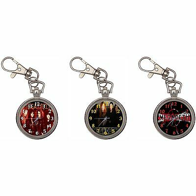 Megadeth Dave Mustaine Silver Key Ring Chain Pocket Watch
