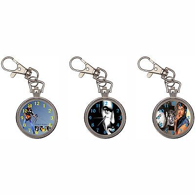 George Michael Silver Key Ring Chain Pocket Watch