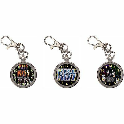 Kiss Silver Key Ring Chain Pocket Watch