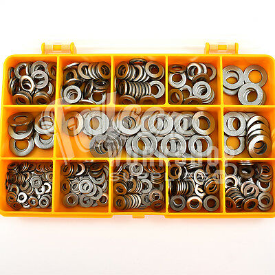 460 Assorted Piece, M3 M4 M5 M6 M8 A2 Stainless Steel Form A Flat Washers Kit