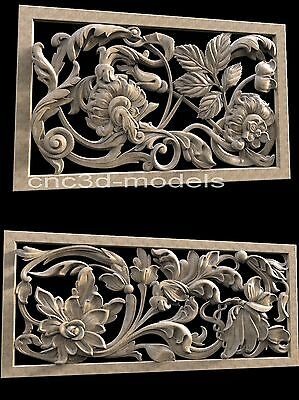 3D STL Models for CNC Router Carving Artcam Aspire Furniture Flowers 093
