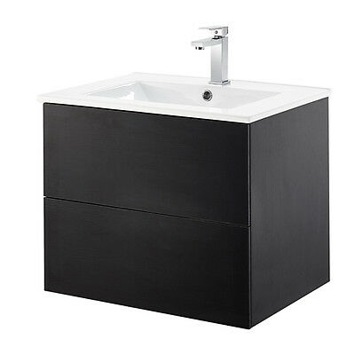 Black Wall Mounted Vanity Unit & Ceramic Basin With 2 Drawers Lia
