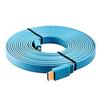 3m meter Premium Flat HDMI Cable High Speed 1080P Gold Full HD TV 3D Lead Blue