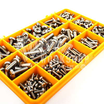 270 Assorted Piece, M3 M4 M5 A2 Stainless Steel Pozi Pan Machine Screws Kit