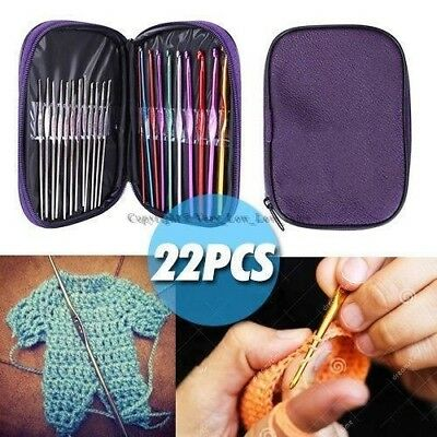 New 22pcs Multi colour Aluminum Crochet Hooks Yarn Knitting Needles Set Kit Case
