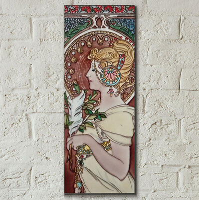 Art Nouveau Lady 6x16 Decorative Ceramic Tile Wall Plaque Art Decor Gift 05877