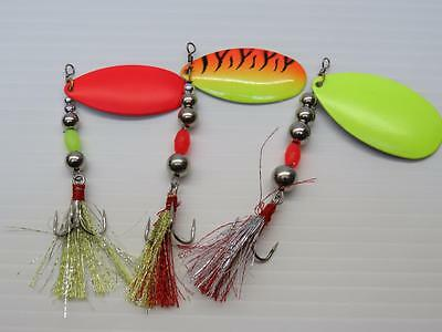 3 x spinners 8g - 11g - 15g great for pike perch trout salmon bass lure fishing