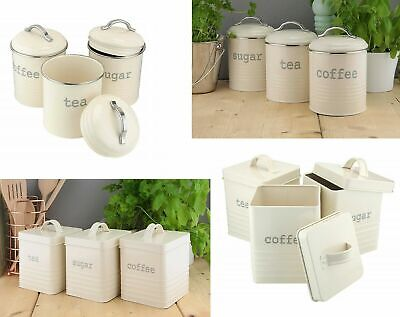 Tea Coffee Sugar Canisters Storage Kitchen Jars Set Of 3 Red