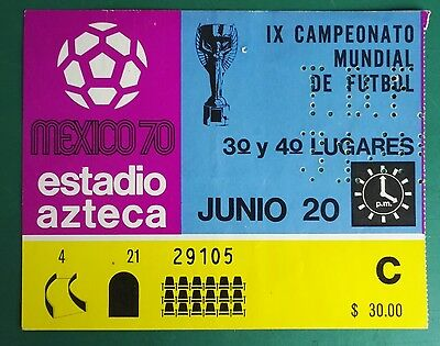1970 WORLD CUP MEXICO USED MATCH TICKET. WEST GERMANY vs. URUGUAY THIRD PLACE