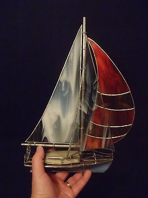 vintage leaded stained glass sailboat three dimensional made in Nova Scotia