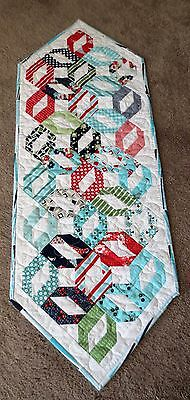 "Hand Made Quilted Table Runner ~ White/multi ~ 13 1/4"" x 36"" ~ 100% cotton"