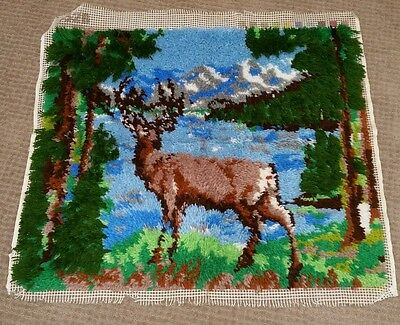 Latch Hook Wall Hanging Deer Stag Woods River Mountains 3D Wildlife 33 x 29