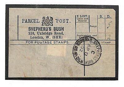 "N238 1902 London. Parcels. Note: ""Scarce CDS Super Strike"""