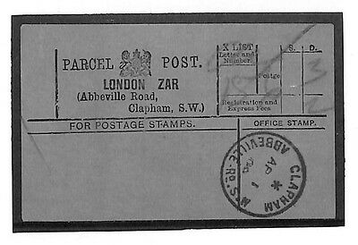 "N239 1908 London. Parcels. Note: ""Scarce CDS"""