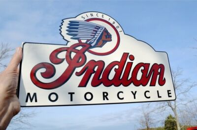 Old Style Indian Motorcycle Scout Chief Cheiftain Steel Bike Flg Sign Usa Made