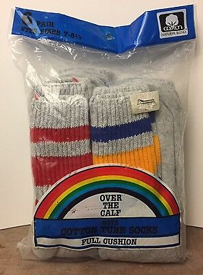 Vintage Boys Tube Socks NOS Over The Calf Gray Grey Stripes 6 Pairs Fits 7-8 1/2