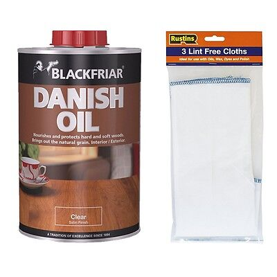 Blackfriar Danish Oil Clear Satin Finish 5 Litre with Lint Free Cloths - 3 Pack