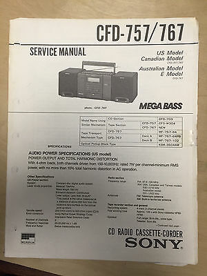 Sony Service Manual for the CFD-757 Boombox Cassette Radio ~ Repair