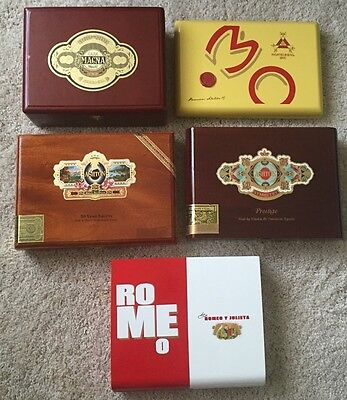 Lot Of 5 Empty Wooden Cigar Boxes