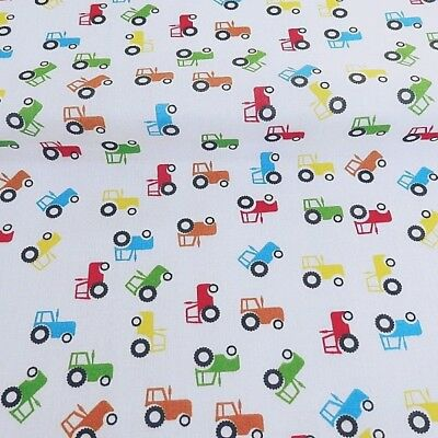 Polycotton Fabric Farmer Mini Tractors Tossed Farm Tractor