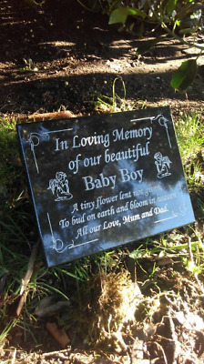 Hand Engraved Personalised Black Granite Memorial Grave Plaque Stone Any wording