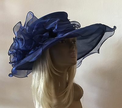 New Large Navy Blue Organza Brides Wedding Hat Mother Of The Bride/Groom Races