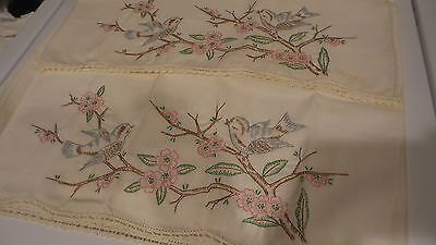 Vintage PILLOWCASE PAIR X-Stitch Embroidered Blue Birds,Dogwood Branches