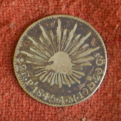 1845 Mexico Mexican Potosi Mint First Republic Silver Eagle Rattlesnake 2 Reales