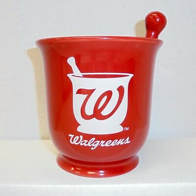 Walgreens Pharmacy Red Mortar and Pestle Cup Mug Pen Pencil Holder Advertising