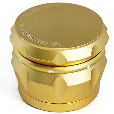 Chromium Crusher Drum 2.5 Inch 4 Piece Tobacco Spice Herb Grinder - Vivid Gold