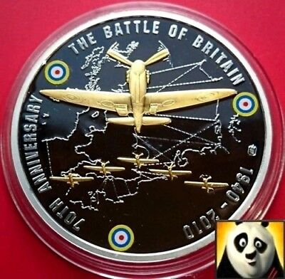 2010 Battle of Britain 70th Anniversary Silver Plated 40mm Proof Coin Medal +COA