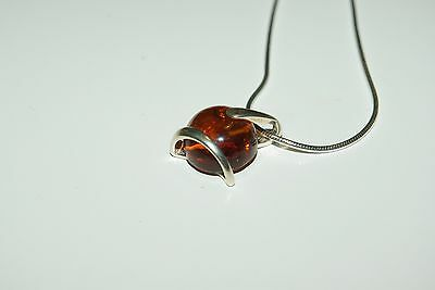 """Sterling Silver 925 Amber Necklace and Snake Chain 16"""""""