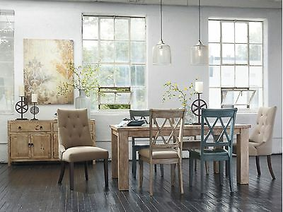 DUBLIN - 7pcs Cottage Rectangular Dining Room Table & Mixed Chairs Set Furniture