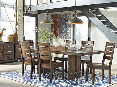 PARKVIEW - 7pcs Modern Brown Rectangular Dining Room Table Chairs Set Furniture