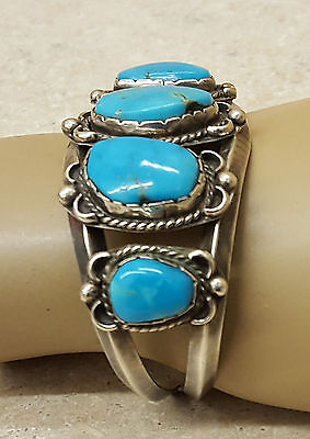 Nice Old Vintage Silver 5 Blue Turquoise Native American Indian Bracelet Cuff