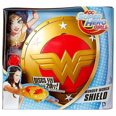 DC Super Hero Girls Wonder Woman Shield Disc Launcher Discs Fly Up To 20 FT NEW!