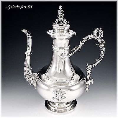 Spectacular Antique French Sterling Silver Coffee Pot,  Dragon Handle Mascaron