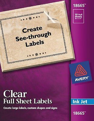 Avery Clear Full-Sheet Labels for Inkjet Printers, 8.5 x 11-Inches, Pack o...NEW