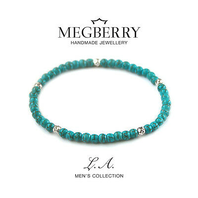 MEGBERRY Mens 925 Sterling Silver & Turqouise Beaded Bracelet UK - Made in UK