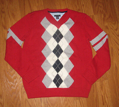 Boy's Tommy Hilfiger Argyle Red Long Sleeve Sweater-Size M 12/14