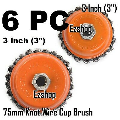 """6pcs alots - 3"""" Twist Cup Wire Brush 5/8"""" Twisted Wire Fits Most Angle grinders"""