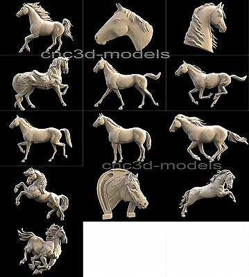 3D STL Models for CNC Router Engraver Carving Artcam Aspire Horse 253