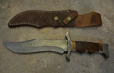 Custom Made Damascus Steel Hunting Bowie with Rose Wood Handle U 113