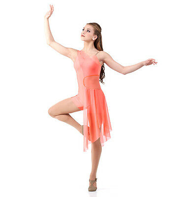 The Journey Dance Costume Salmon Unitard Attached Skirt Lyrical Ballet Clearance