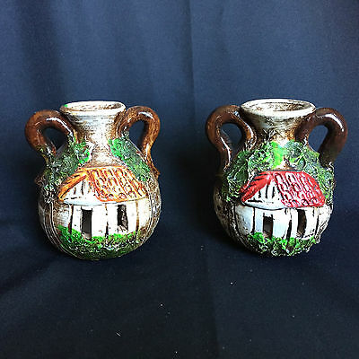 Pair of Small Decorative Hand Painted Pottery Jugs