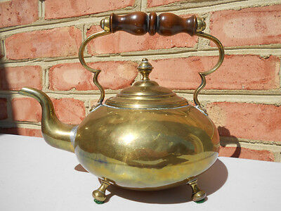 Old Antique Early Brass Footed Tea Kettle Wood Hdl Teapot