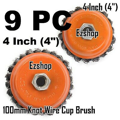 """9pcs alots - 4"""" Twist Wire Cup Brush 5/8""""-11NC Thread Fits Most Angle grinders"""